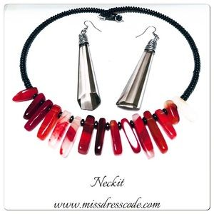 Neckit Jewelry - Red Glass & Metal Statement Necklace and Earrings